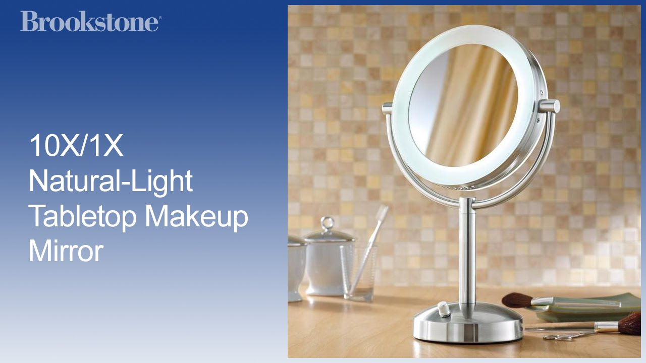 Marvelous 10X/1X Natural Light Tabletop Makeup Mirror   YouTube