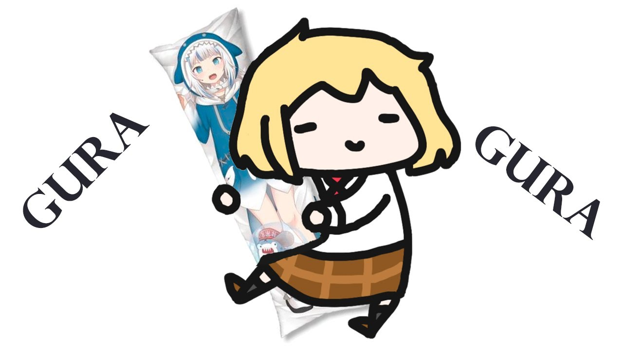 chibi ame on her way to buy a Gura body pillow