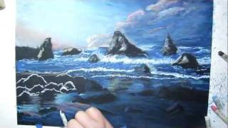 Sunset Rocky Beach Speed Drawing