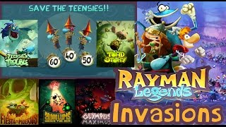 Rayman Legends - All Invaded Levels (Time Trials) Multiplayer 4-player Co-Op Walkthrough