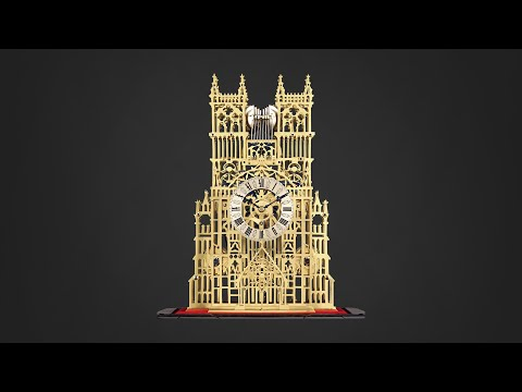 Westminster Abbey Three Train Fuseé Skeleton Clock by Evans   M.S. Rau Antiques