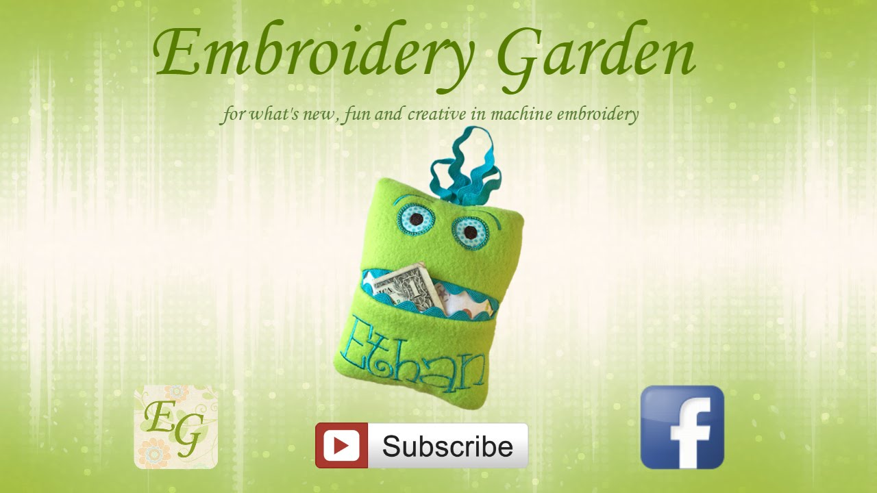 whats in the hoop with embroidery garden monster tooth fairy pillow youtube - Embroidery Garden