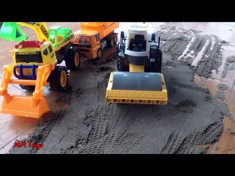 Trò chơi xe ô tô máy xúc xe lu xe tải máy ủi cát làm đường - Truck Toys for Kids