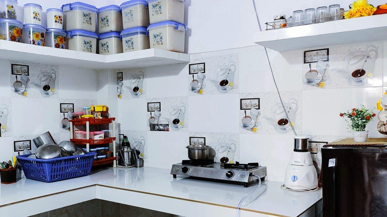 How to organise my new non modular kitchen tour..Indian small new kitchen tour