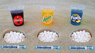 EXPERIMENT: Cola, Sprite, Fanta and Fruity Mentos Underground
