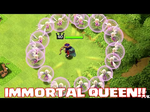 Clash Of Clans - IMMORTAL QUEEN TROLL (UNSTOPPABLE HERO ATTACK!!): Clash of clans Immortal Queen! Mr Queen Sir Becomes Immortal! Enjoy this Clash of Clans Troll where we use an Immortal queen to become unstoppable!!!  Trolling other players with just my heroes FTW!  CLASH OF CLANS FREE GEMS! http://cashforap.ps/godson  CLASH OF CLANS LIVESTREAM!!! https://www.kamcord.com/download/Gods...  CLASH OF CLANS T-SHIRTS http://shrsl.com/?~8iob  Clash of Clans is an addictive mixture of strategic planning and competitive fast-paced combats. Raise an army of Barbarians, War Wizards, Dragons and other mighty fighters. Join a clan of players and rise through the ranks, or create your own Clan to contest ownership of the Realm. Driving back the goblins is just the first step - your quest isn't over until your clan reigns supreme over all others!  Twitter: http://bit.ly/GodsonCoc  This account is unofficial and not associated with or endorsed by Supercell Oy. For more information, see Supercell's Fan Content Policy: www.supercell.com/fan-content-policy