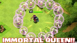 Clash Of Clans - IMMORTAL QUEEN TROLL (UNSTOPPABLE HERO ATTACK!!)
