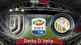 PES 2018 - Juventus x Internazionale | Serie A TIM | Derby D´Italia | Gameplay. PS4