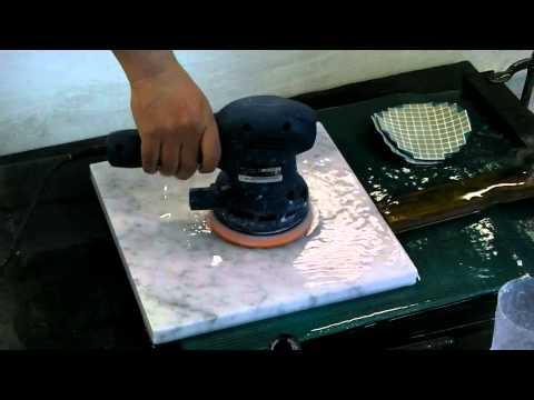 Marble polishing by orbital sander