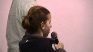 Rachael singing National Anthem at Swim Meet