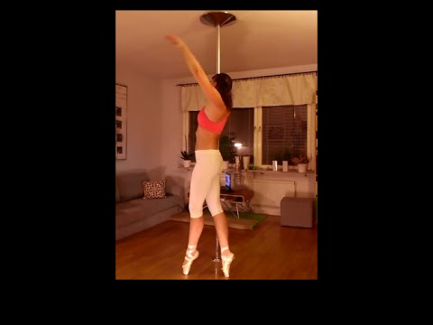 Pole dance on pointe shoes (sweaty!)