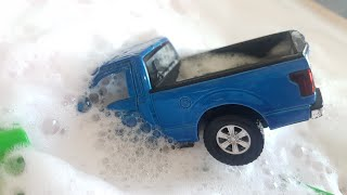 Toy Cars Getting Washed with Foam Soap - Car Wash Video for Kids