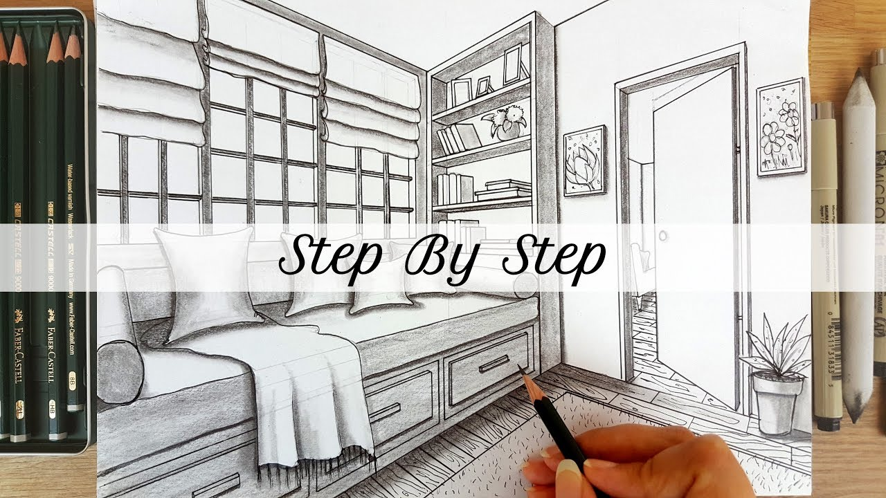 How To Draw A Room In Two Point Perspective Step By Step Youtube