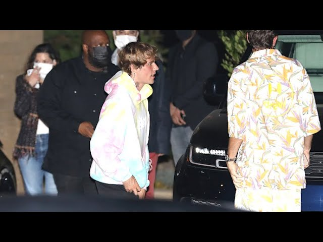 Justin Bieber Rocks Tie-Dye Drew Hoodie For Dinner With His Pals