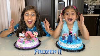 FROZEN 2  Birthday party Cake with Disney Princess Elsa, Anna, and Olaf Toys