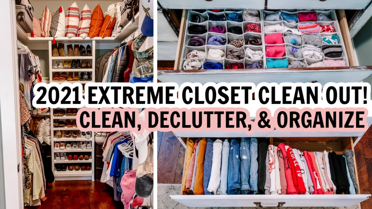 2021 EXTREME CLOSET CLEAN OUT!!! | CLEAN, DECLUTTER & ORGANIZE WITH ME | EXTREME CLEANING MOTIVATION