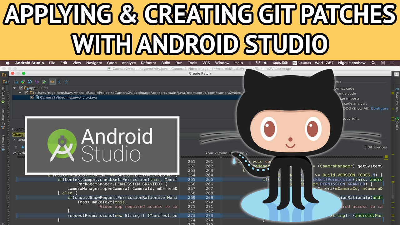 android studio git creating applying patches - Nige's App Tuts