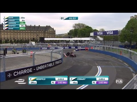 Formula E 2016. Qualifying Paris ePrix. Mike Conway & Nick Heidfeld Big Crash