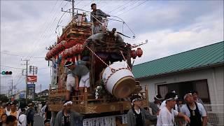 館山市那古の祭:山車花車6基が那古大浜通りに集合太鼓の競演  H29nag4