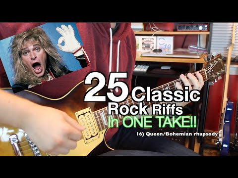 25 Classic Rock Riffs In ONE TAKE!! ( Can you Name them all ?)