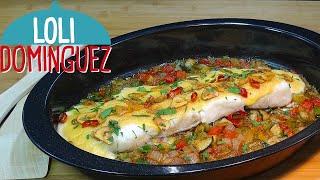 Bacalao con verduras al horno napado con muselina, receta fácil y rapida. Tutorial. Loli Domínguez