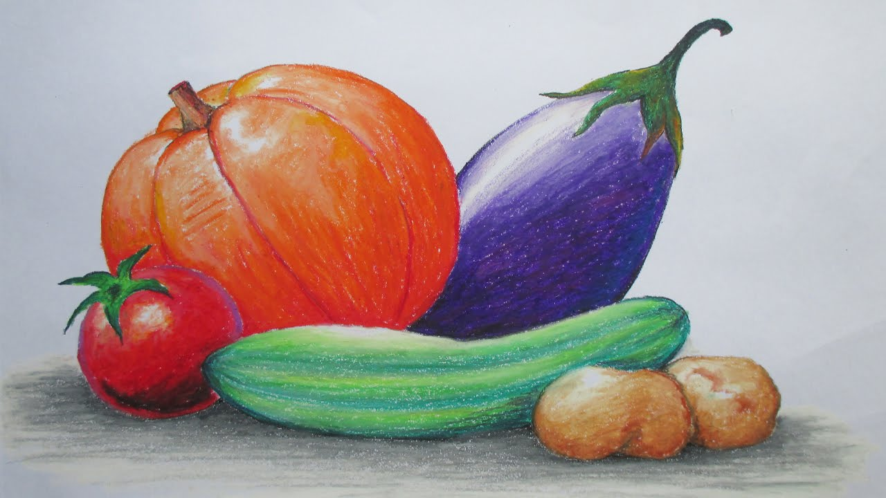How To Draw Vegetables With Oil Pastel