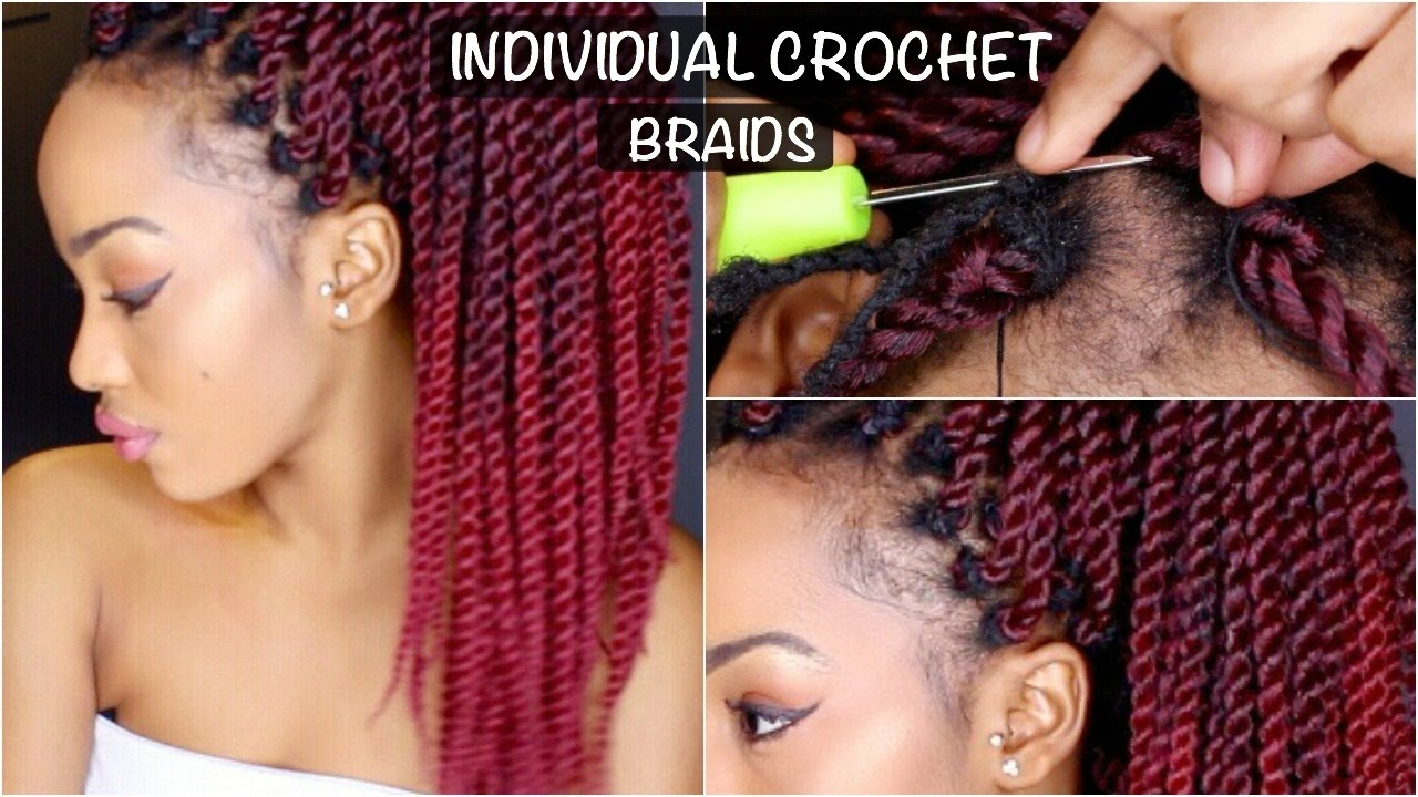 INDIVIDUAL NO CORNROW CROCHET RED OMBRE SENEGALESE TWISTS