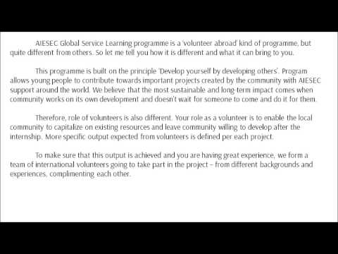 Guide How to explain Global Service Learning to students July 2014