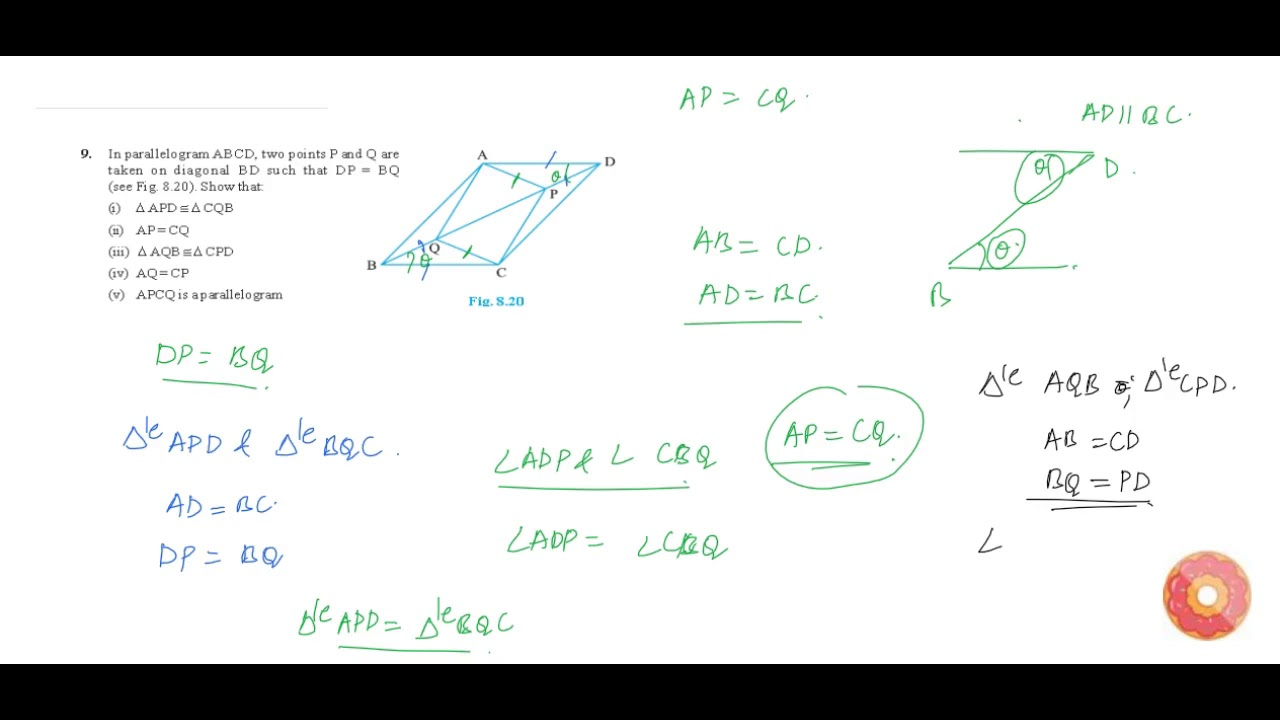 In parallelogram abcd two points p and q are taken on diagonal bd in parallelogram abcd two points p and q are taken on diagonal bd such that d p b youtube ccuart Gallery