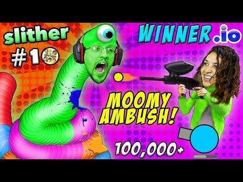 WINNER.IO HIGHEST SCORE EVER on Slither.io #10 Ruined by Paintball Gun Scare (FGTEEV 3x Win Diep.io)
