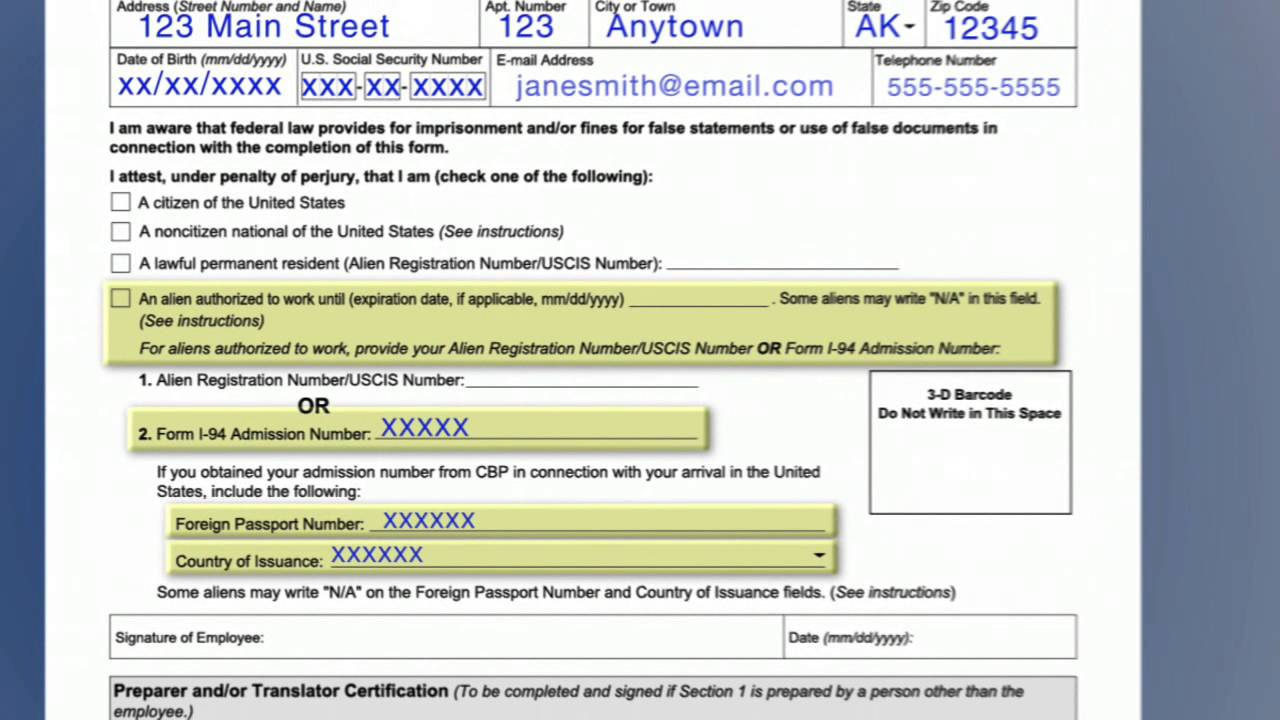 Video Form I 9 Employment Eligibility Verification Section One