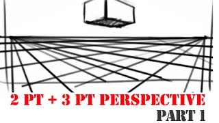 How to Draw using 2 and 3 point perspective part 1 - with audio