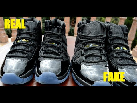 side by side air jordan 11 xi retro gamma blue real vs fake comparison. Black Bedroom Furniture Sets. Home Design Ideas