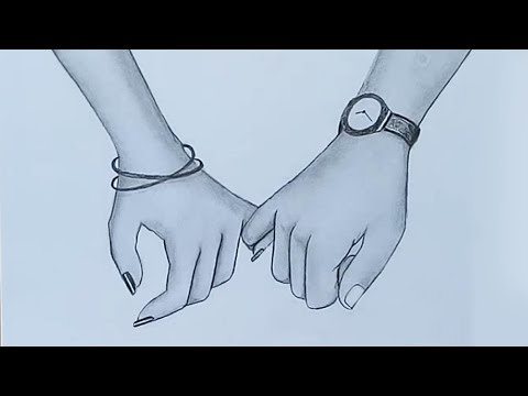 Holding Hands pencil sketch    Valentine's Day special
