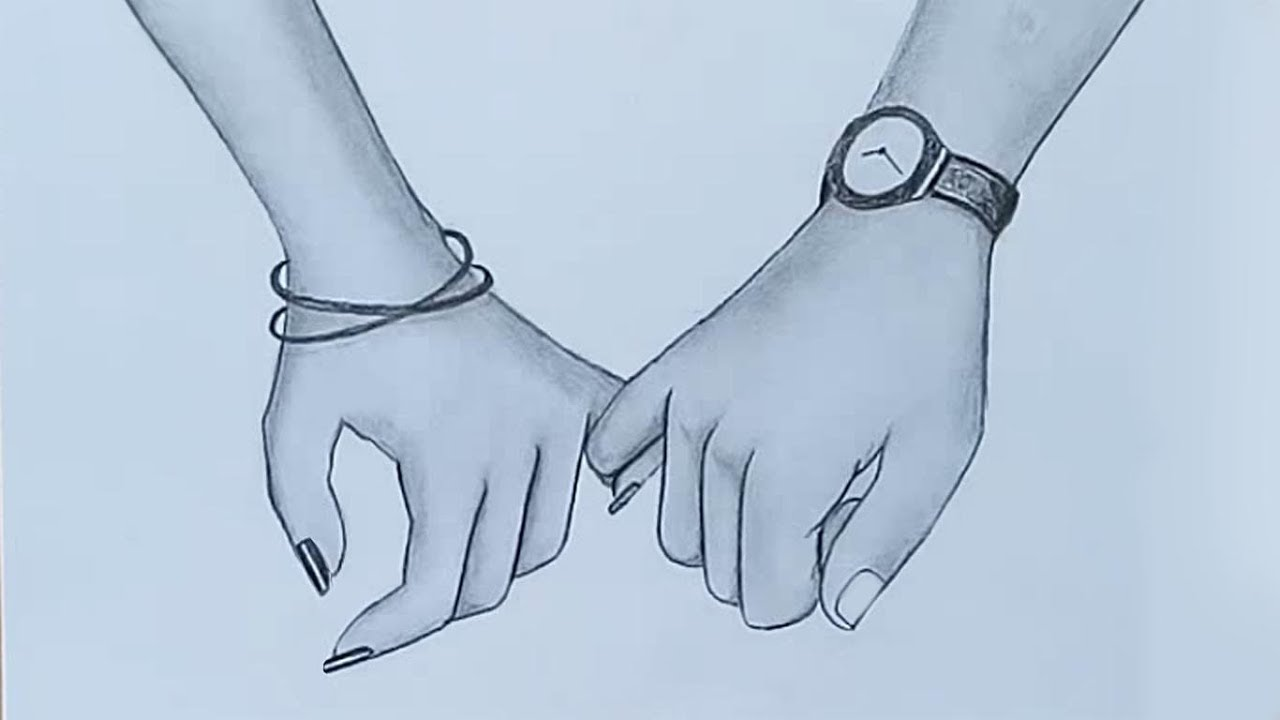 Holding hands pencil sketch valentines day special