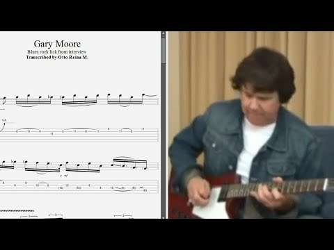 Gary Moore - Blues rock lick from interview - Best lick (animated tab - Fast & slow)