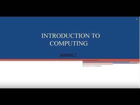 introduction to computer lectures  no  7