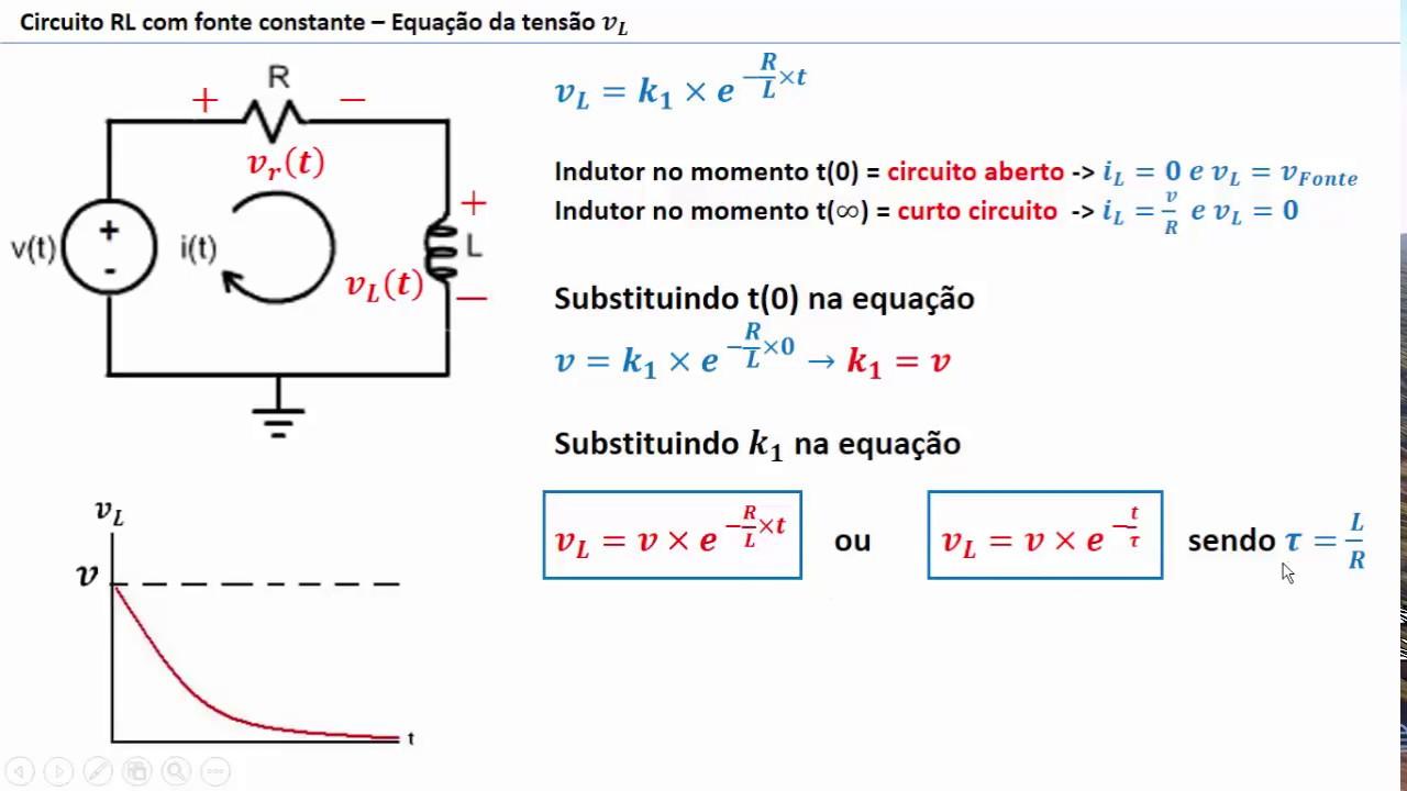 Circuito Aberto : 04 circuito rl fonte constante edo da tensão no indutor youtube