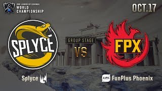 SPY vs FPX | GROUP STAGE Day 5 H/L 10.17 | 2019 Worlds Championship