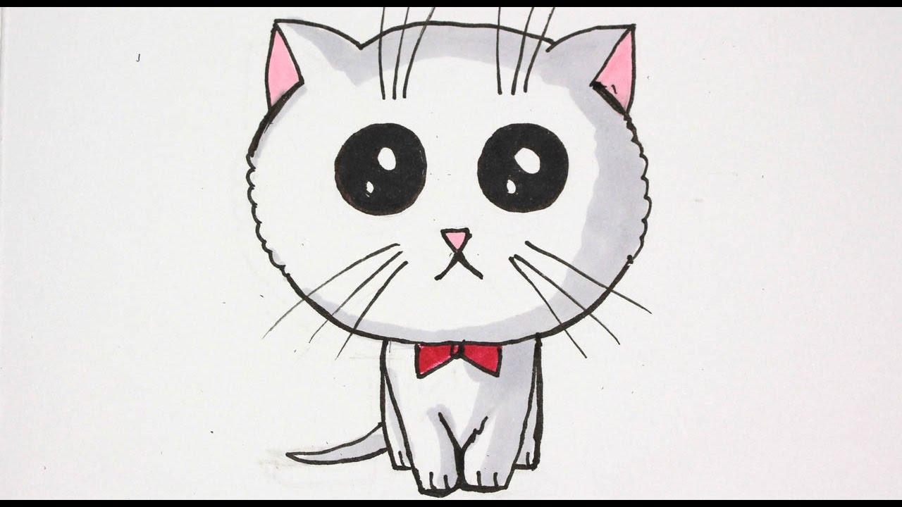 Disegno facile come disegnare e colorare un tenerissimo for Disegno gatto facile
