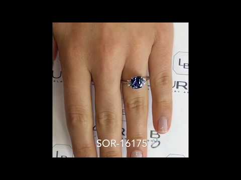 2.62 ct Cushion Cut Diamond Sapphire Engagement Ring