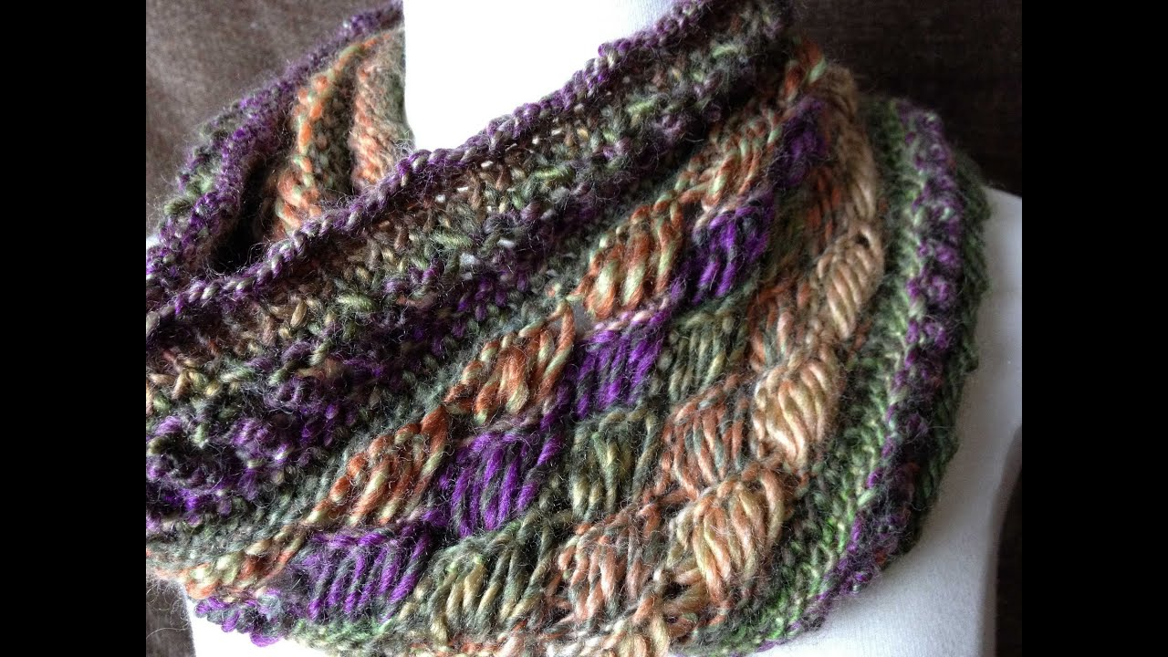 Chic Retreat Cowl loom knit Indian Cross stitch (Closed Captions CC) - YouTube