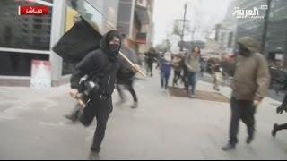 بالفيديو.. اشتباكات واحتجاجات خارج البيت الأبيض لحظة تنصيب ترامب
