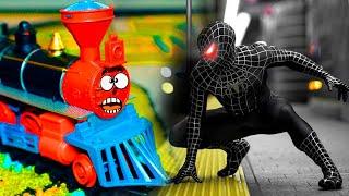 Мультик про Человека-паука и паровозика Гарри