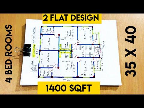 35 x 40 house plan with 4 bed rooms II 35 x 40 ghar ka naksha II 4 bhk ohuse plan