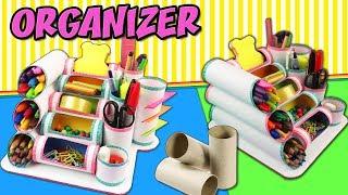 DIY MINI ORGANIZER WITH TOILET PAPER ROLLS - Back to School | aPasos Crafts DIY