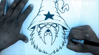How to draw a Wizard cartoon character (HD) - speed drawing