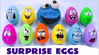 Surprise Eggs Play Doh Sesame Street Cookie Monster Lightning McQueen Spongebob Thomas And Friends