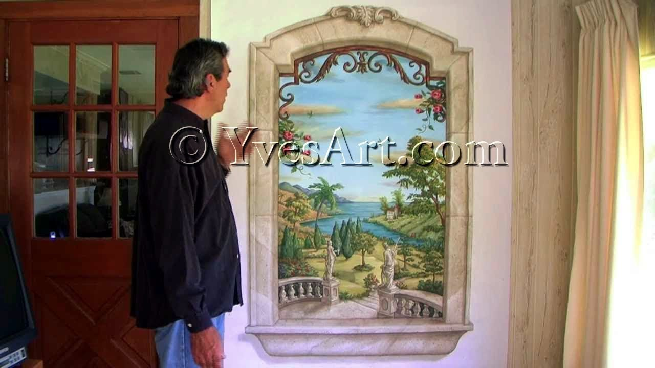 Trompe l 39 oeil window mural youtube for Deco trompe l oeil mural