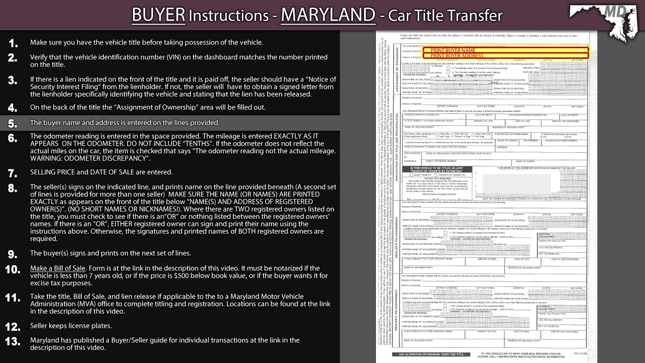 Maryland Title Transfer Buyer Instructions Youtube